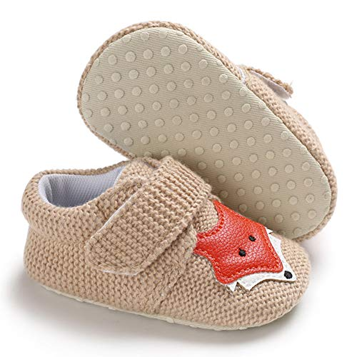 Sawimlgy Infant Baby Boys Girls Non Slip Walking Slippers Socks Soft Sole Warm Booties with Grip First Crib Shoes Home Moccasins Newborn Gift Shoes ()