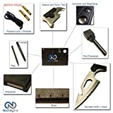 Compact Wallet Survival Credit Card Tool with 2 Rescue Whistles, Magnesium Fire Starter, & Paracord! Credit Card Size Multitool great for Camping, Hiking, Outdoors, or Fishing