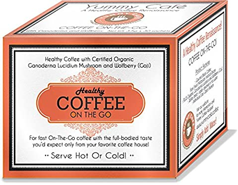 Healthy Coffee - Great Tasting ON-THE-GO Black Coffee with Certified Organic Ganoderma and Chinese Wolfberry (Goji) - Box of 30 x 3.5g - Koffee King Coffee