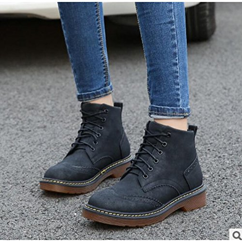 ZHZNVX HSXZ Zapatos de Mujer Otoño Invierno PU Confort Botas de Tacón Chunky Round Toe Botines/Botines de Casual Gris Amarillo Negro,Negro,US7.5/UE38/UK5.5/CN38 38 EU|Black