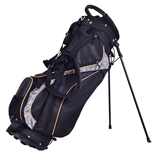 GHP Black Polyester Fabric 7-Way Divider 9'' Padded Golf Stand Bag with Shoulder Strap by Globe House Products