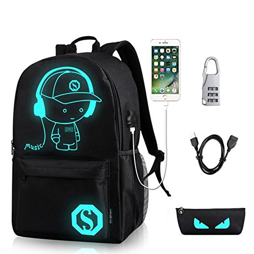 (Unisex Casual Fashion Waterproof Luminous Anime Notebook Laptop Backpack Anti-theft School Bag with USB Charging Port Daypack Shoulder School Bag (Black))