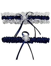 M_Eshop Women's Satin Lace Bridal Wedding Garters with Bowknot - Set of 2