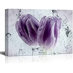 wall26 - Canvas Wall Art - Two Purple Tulip Flower Petals - Gallery Wrap Modern Home Decor | Ready to Hang - 16x24 inches