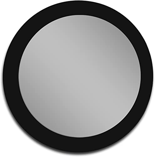 Mirrorshome Round Black Glass Frame Bathroom Vanity Modern Wall Mounted Bedroom Mirror 32-inch Diameter Circle 24 inch X 24 inch