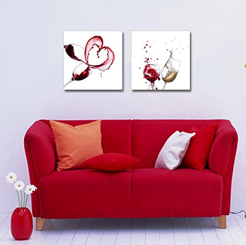 Artistic Wine Splash Closeup Home Deoration Wall Decor x 2 Panels