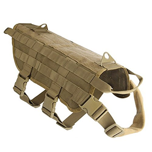 Pettom Tactical Dog Training Molle Vest Suits Harness with Detachable Pouches (L, Brown Vest Only) (Tactical Harness Molle)
