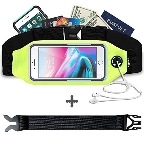 Fanny Pack, Running Belt, Waist Bag for Women & Men for iPhone Xs Max, XR, XS/X, 8/7/6s Plus, 8/7/6/SE, Samsung Galaxy S10/S9/S8 Plus/Note, Moto, with Their Cases on. Gym Workout Fitness Gear-Green ()