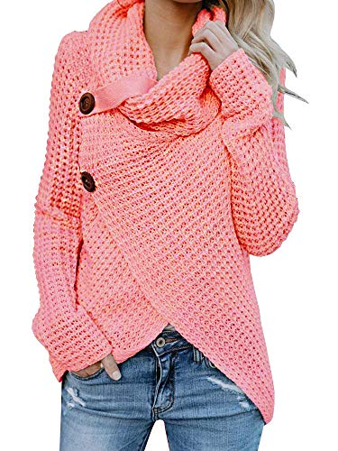 Inorin Womens Sweaters Casual Cowl Neck Chunky Cable Knit Wrap Pullover Sweater (Sweater Dresses Boots)