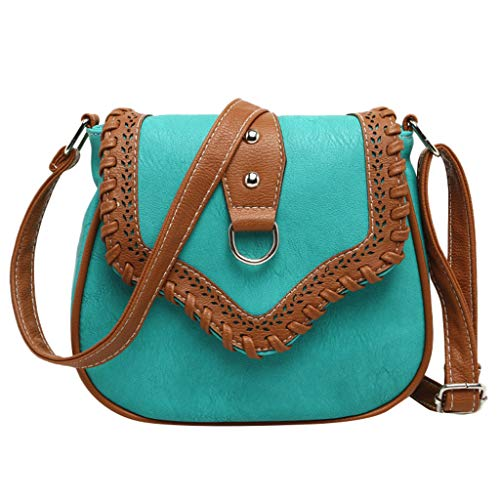 ✔ Hypothesis_X ☎ Women's Ethnic Style Hollow Color Matching Bag Leather Woven Bag Shoulder Messenger Bag -