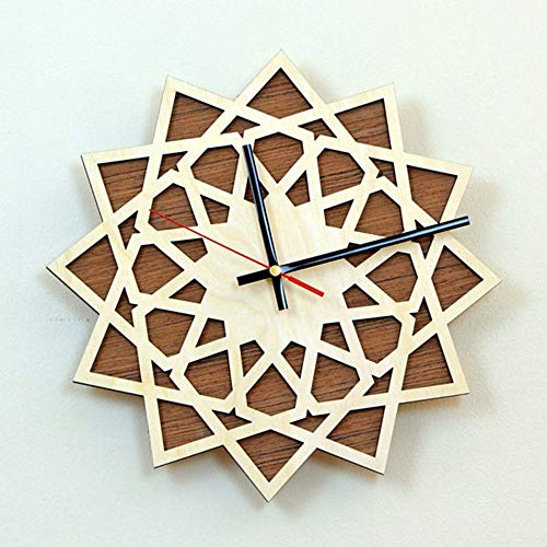 Geometric Clock - GUABOHHY Modern Spiral Hanging Minimalist Wooden Wall Clock Silent Savanna Geometric Clock Watch Wall Art Home Decor Gift Unique Design
