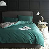 Queen Duvet Cover Set with Zipper Closure Luxury Soft Microfiber 4 Piece£¨1 Duvet Cover + 1 Bed Sheets + 2 Pillow Shams) Nordic Simple Solid Color Hotel Collection Dark Green - by Family Decor