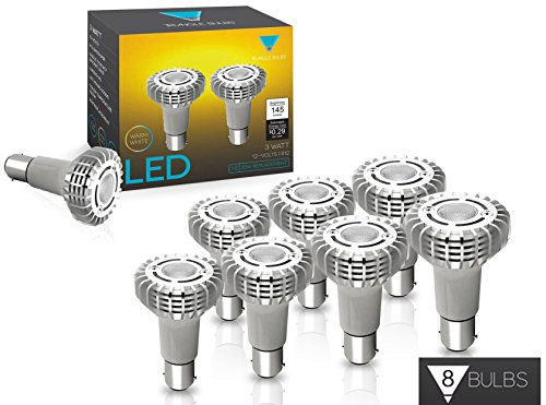 Triangle Bulbs 8-Pack, 1383 Miniature Reflector Elevator Led Light Bulbs, 3-Watt 12V BA15S Base Lamps, CREE 3000K(Warm White) ()