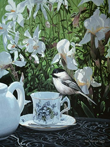 Chickadee and Teacup Ron Parker Wall Mural by Wallmonkeys Peel and Stick Graphic (60 in H x 45 in W) WM348694 (Chickadee Tea)
