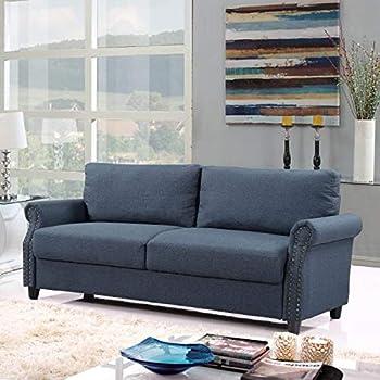 Amazon Com Classic Living Room Linen Sofa With Nailhead
