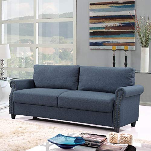 (Classic Living Room Linen Sofa with Nailhead Trim Furniture with Storage (Blue))