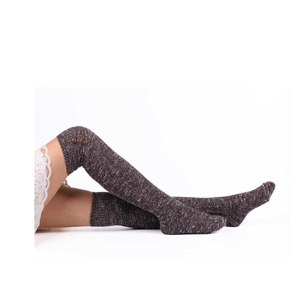 39f91d658f1 Amazon.com  Quelife Women Christmas Warm Thigh High Long Stockings Knit  Over Knee Woolen Socks (Purple 82