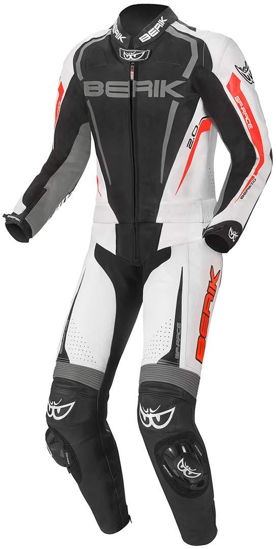 Berik Race-X 2-Teiler Motorrad Lederkombi Schwarz//Wei/ß//Grau 54
