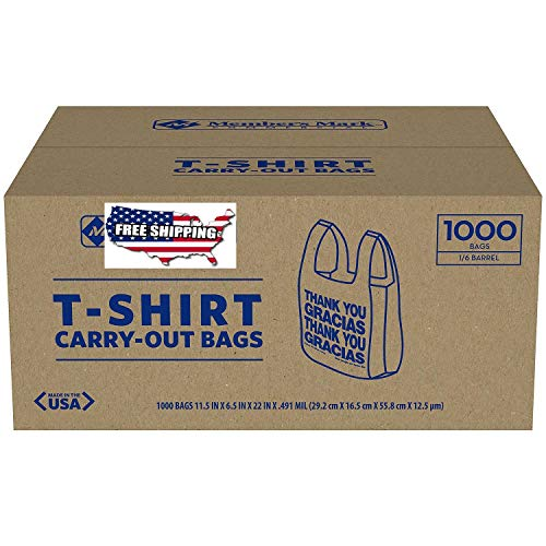 - 1000 T-Shirt Thank You Carry Out Retail Plastic Bags Recyclable Grocery Shopping