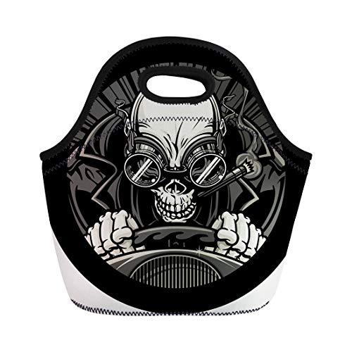 Semtomn Lunch Bags Undead Stock Car Racer of Skeleton Smoking Cigar While Neoprene Lunch Bag Lunchbox Tote Bag Portable Picnic Bag Cooler Bag