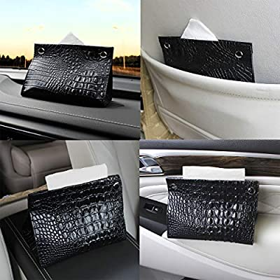 YIHO Leather Facial Tissue Box Cover -Foldable Napkin Holder Dispenser -Portable Pumping Paper Storage Case Organizer for Car Home Office Decoration: Home & Kitchen