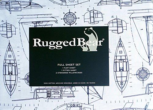 Nautical Set Sheet - Rugged Bear 4 Piece Full Size Sheet Set Navy Blue Yachts Boats Ships Nautical Plans Design on White