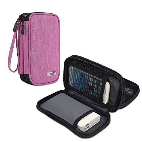 BUBM Travel Electronics Organizer, Carrying Pouch for Power Bank, Phone, Wall Charger, USB Cables and Other Phone Accessories, Denim Pink ()