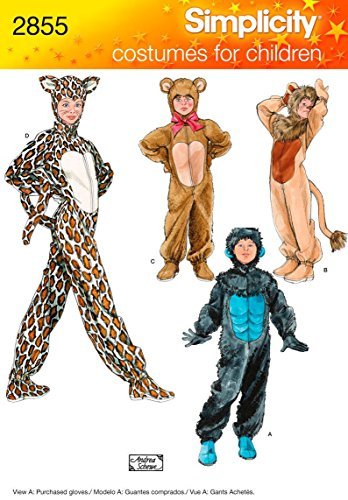 Simplicity 2855 Leopard, Bear, Gorilla and Lion Sewing Pattern for Boys and Girls Halloween Costumes, Sizes -