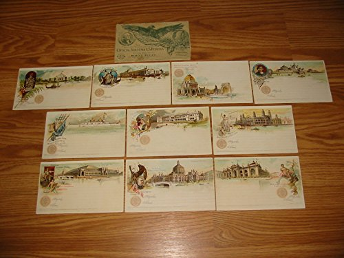 1893 COLUMBIAN EXPOSITION SOUVENIR POSTCARD SET ---10 WONDERFUL NEVER-USED 19TH CENTURY U.S. POSTALS---RARE---w/ OFFICIAL DISPLAY WRAPPER--- VERN'S CARD & COIN Extremely Fine
