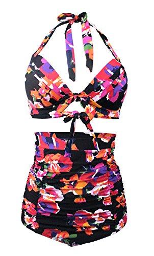 2 Piece Vintage Bikini - GOLDSTITCH Women's Floral Halter High Waist Bikini Swimsuit Floral Printing Bathing Suits 2 Pieces,Floral+floral Pants,US14(Tag XXXL)