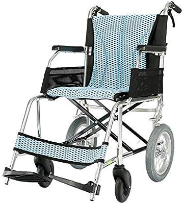Sillas de ruedas Viaje para Personas Mayores Carro portátil Plegable Scooter pequeño Puede soportar 100 kg (Color : Blue, Size : 52 * 94 * 90cm)