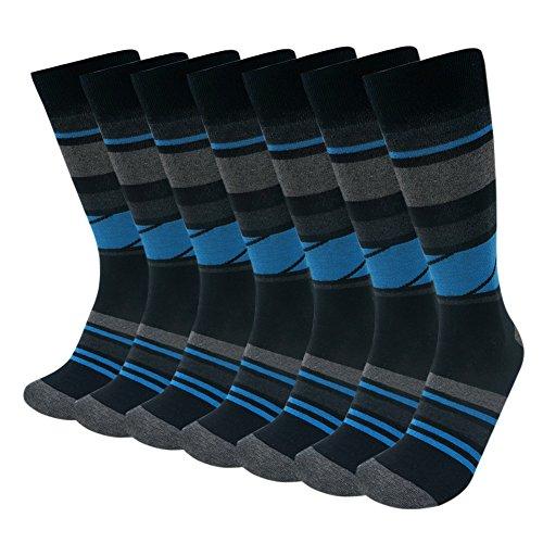 Block Stripe Socks - Men's Fun Dress Socks, SUTTOS Men's 7 Pack Fancy Blue Grey Black Mid Calf Dress Casual Socks Diamond Sharp Color Block Stripe Rib Moisture Wicking Control Big & Tall Long Tube Work Socks