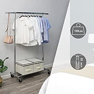 SONGMICS Heavy Duty Clothes Garment Rack with Shelf on Wheels Maximum Capacity 198.41lbs Extendable & Collapsible UHSR13S