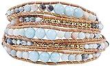 Chan Luu Matte Multi Amazonite Mix of Semi Precious Stones and Nuggets Tan Leather Wrap Bracelet