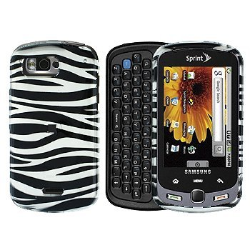 White with Black Zebra Strip Snap on Hard Skin Shell Cover Case for Samsung Moment ()