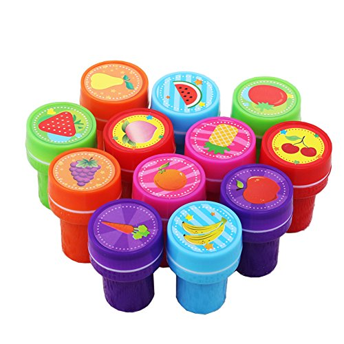 Lanlan 12pcs Plastic Stamps Different Fruit Patterns Kindergarten Teacher Prizes Props Children's Day Christmas New Year Birthday Toy Gift Party Favor Set Art Ink Set No Need Inkpad