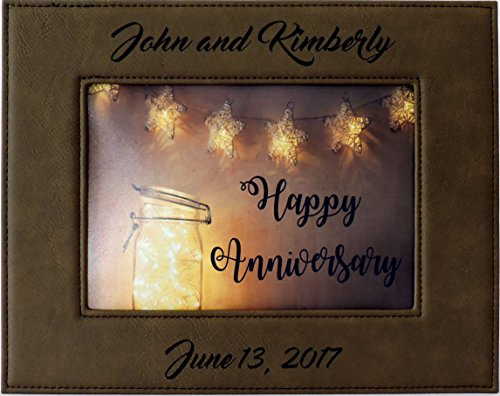Leather Frame - Forever Me Gifts Anniversary Photo Frame, Brown Leather Picture Frame Customized, Free Engraving
