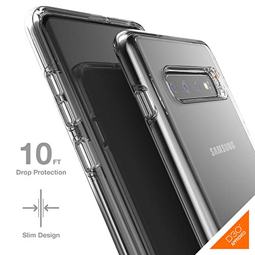 Gear4 Crystal Palace Clear Case with Advanced Impact Protection [ Protected by D3O ], Slim, Tough Design for Samsung Galaxy S10 Plus - Clear