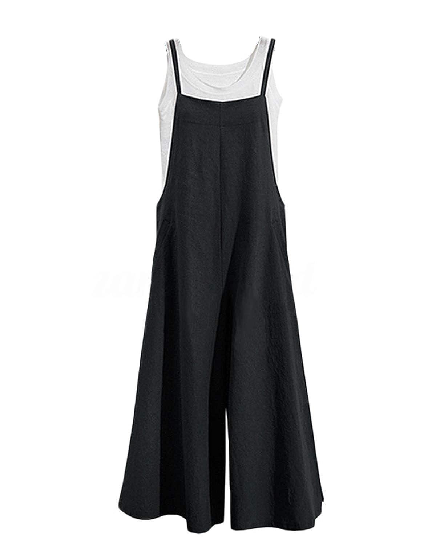 Amazon.com: Mono de lino suelto para mujer, con bolsillos, S ...