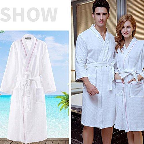 3 D'acqua Collo Sezione Colore Albergo Camicia Di dimensioni Kimono Lunghe Cotone 100 Da Sottile Cotone A Uomini 4 Maniche Notte Assorbimento Donne Accappatoio Di E Estate M 0FWCwqU