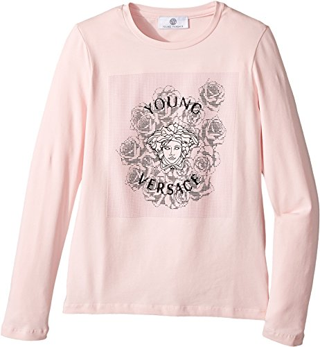 Versace Kids Girl's Long Sleeve T-Shirt w/ Medusa Rose Design On Front (Big Kids) Pink 9 - 10 by Versace