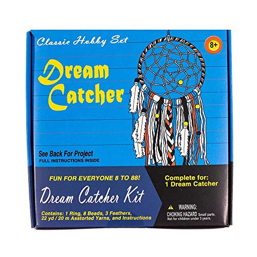 West Coast Paracord Retro Crafting Kit - Dream Catcher - 22 Yards (20 Meters) of Yarn - Ring, Beads, and Feathers (Craft Coast)