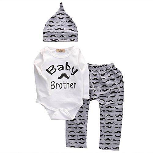 Newborn Boy Girl 3pcs Set Mustache Beard Long Sleeve Romper+Pants+Hat (3-6months, White) (Suits For Baby)