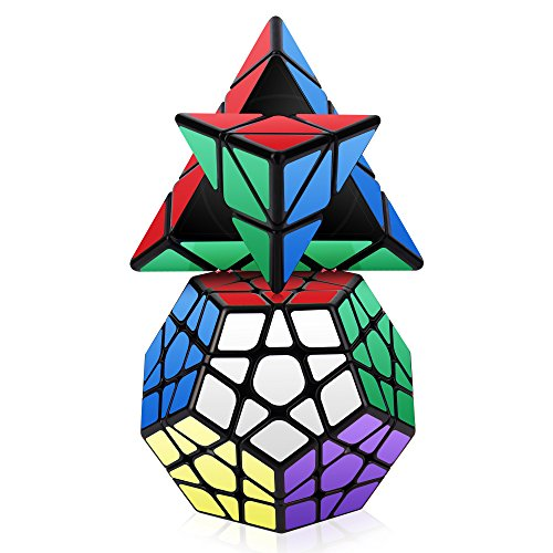 Roxenda Speed Cube Set, Magic Cube Set of Pyramid Megaminx Cube Smooth Triangle Pentagon Cube