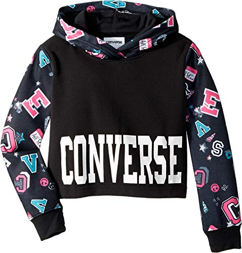 Converse Kids Girl's Printed Cropped Pullover (Big Kids) Black Small ()