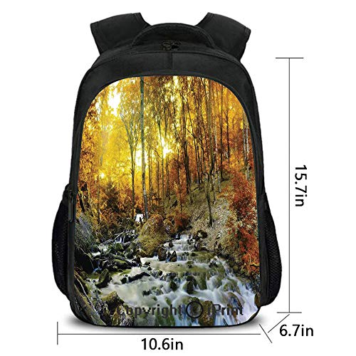 Travel Waterproof Backpack,Autumn River Creek Forest Falling Leaves Rocks Trees Foliage Sunbeams Branches,School Bag :Suitable for Men and Women,School,Travel,Daily use,etc.Multicolor