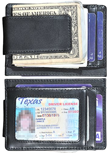 Money Clip Slim Wallet Thin Front Pocket Wallet Genuine Leather RFID Blocking (Napa Leather Magnetic Money Clip)
