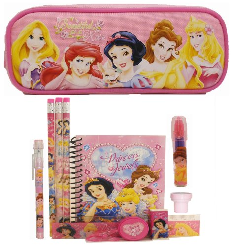 - Disney Princess Pencil Case and Stationery Set - Pink