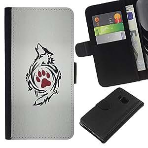 La pata roja del dibujo del arte del tatuaje- la tarjeta de Crédito Slots PU Funda de cuero Monedero caso cubierta de piel Para HTC One M9