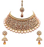 Crunchy Fashion Bollywood Style Gold Plated Traditional Indian Jewelry Necklace Set with Earrings